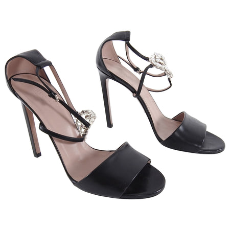 Gucci Crystal GG Logo Strappy Black Leather Sandal Heels - 40