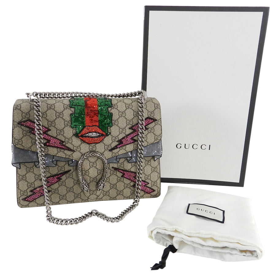 Gucci Dionysus GG supreme embroidered Bag SS2016 Runway- lips and lightning