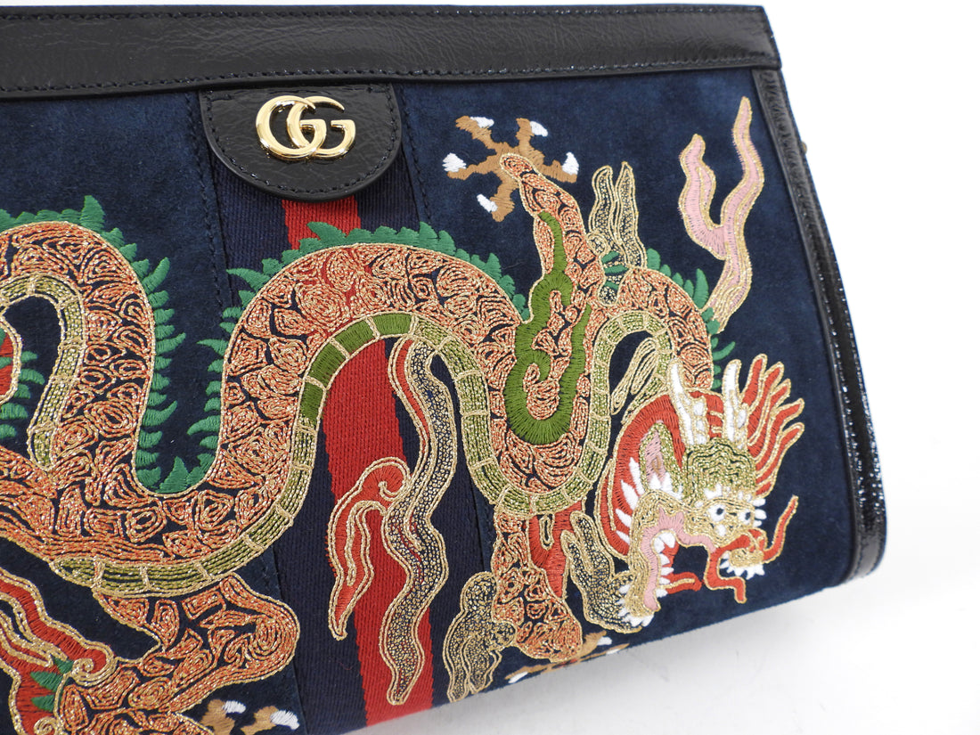 Gucci Black Dragon Embroidered Medium Ophidia Suede Bag