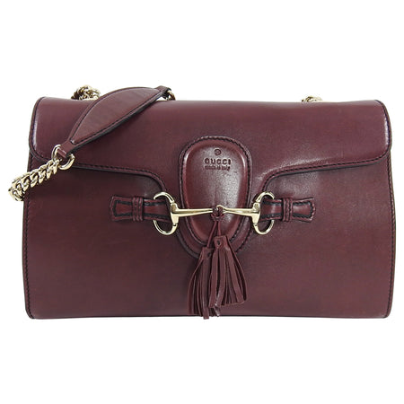 Gucci Burgundy Smooth Leather Emily Shoulder Bag