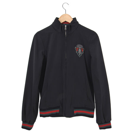 Gucci Equestrian Black Hooded Jacket with Crest Detail - S