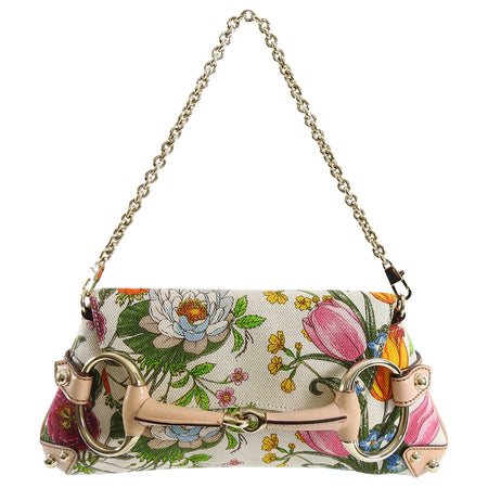 Gucci Flora and Fauna Canvas Horsebit Chain Baguette Small Shoudler Bag