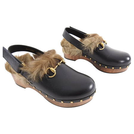 Gucci Black Amstel Horsebit Wood Clogs with Fur Trim - 37