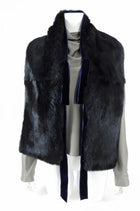 Gucci Black Rabbit Fur Stole with Blue Ribbon Trim