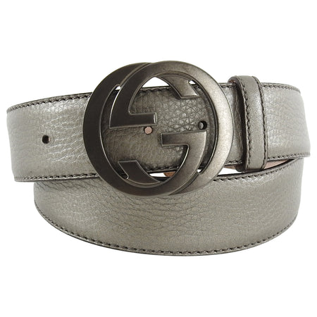 Gucci GG Logo Buckle Pewter Leather Belt - 40 / L