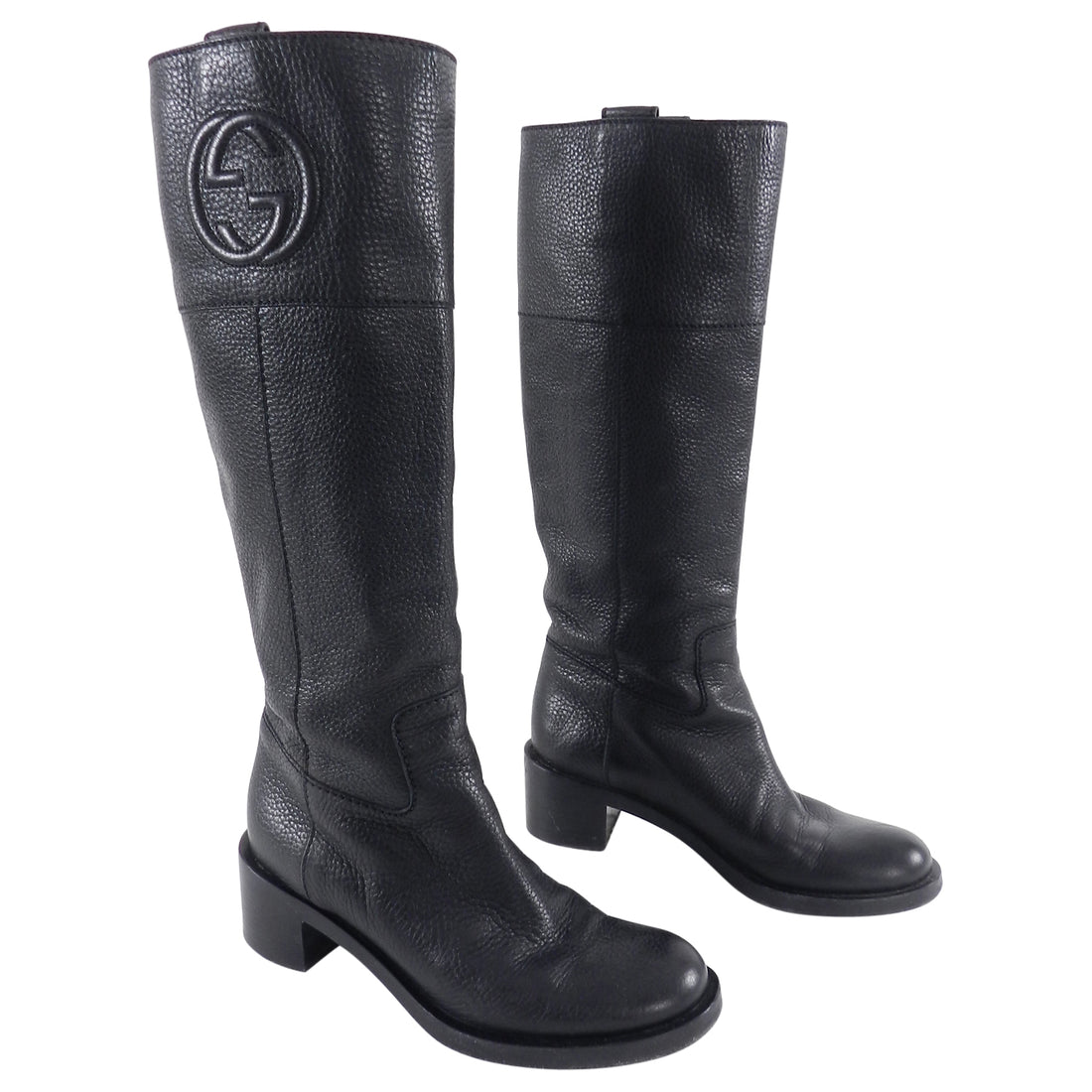 Gucci Tall Black Grained Leather GG Logo Boots With Box - 37.5