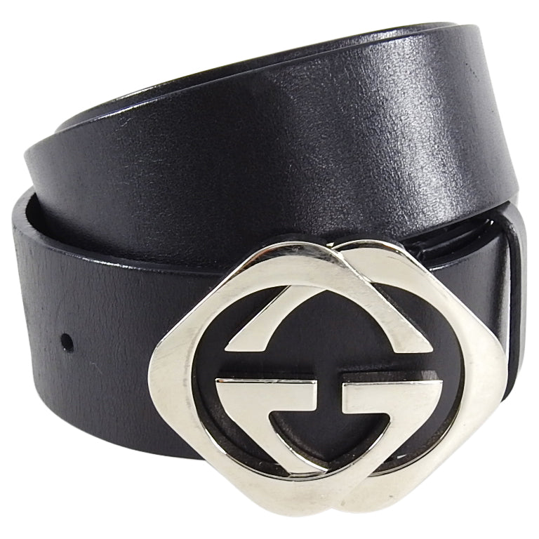 Gucci Black Belt with Silver GG Buckle - 36 / L