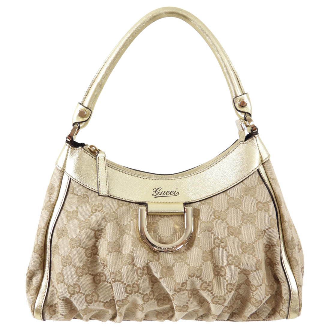 Gucci Gold Monogram Canvas Small Hobo Bag