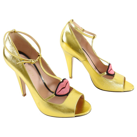 Gucci Molina Gold Lips and Eyes Embroidered Leather Heels - 40