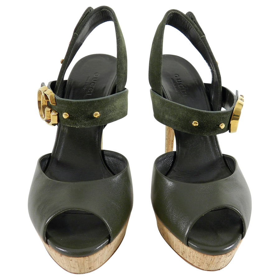 Gucci Dark Green Leather And Suede Cork Platform Shoes