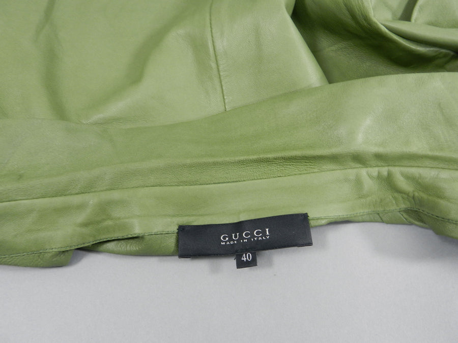 Gucci Spring 2014 Runway Green Leather Ruffle Shirt