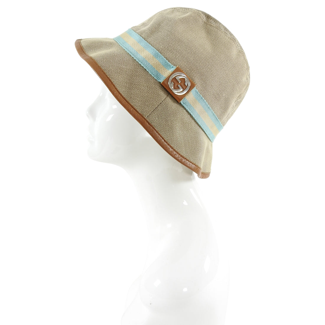 Gucci Beige GG Logo Web Stripe Bucket Hat - S