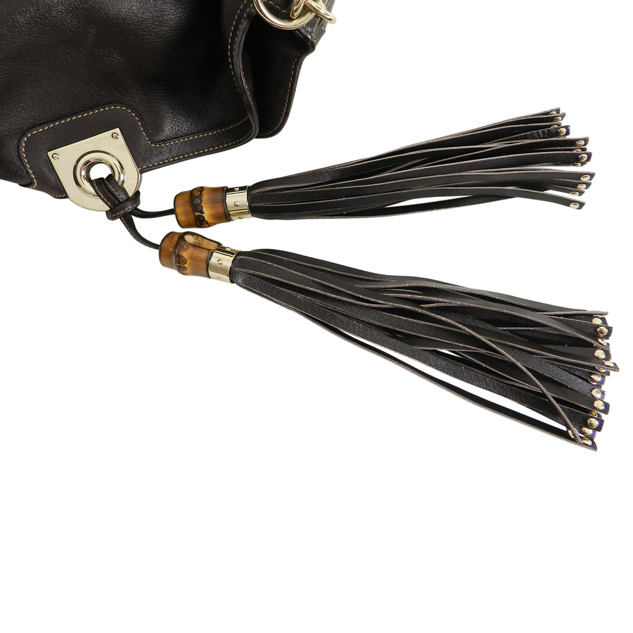 Gucci Brown Leather Indy Hobo Large Bag with Bamboo Tassels
