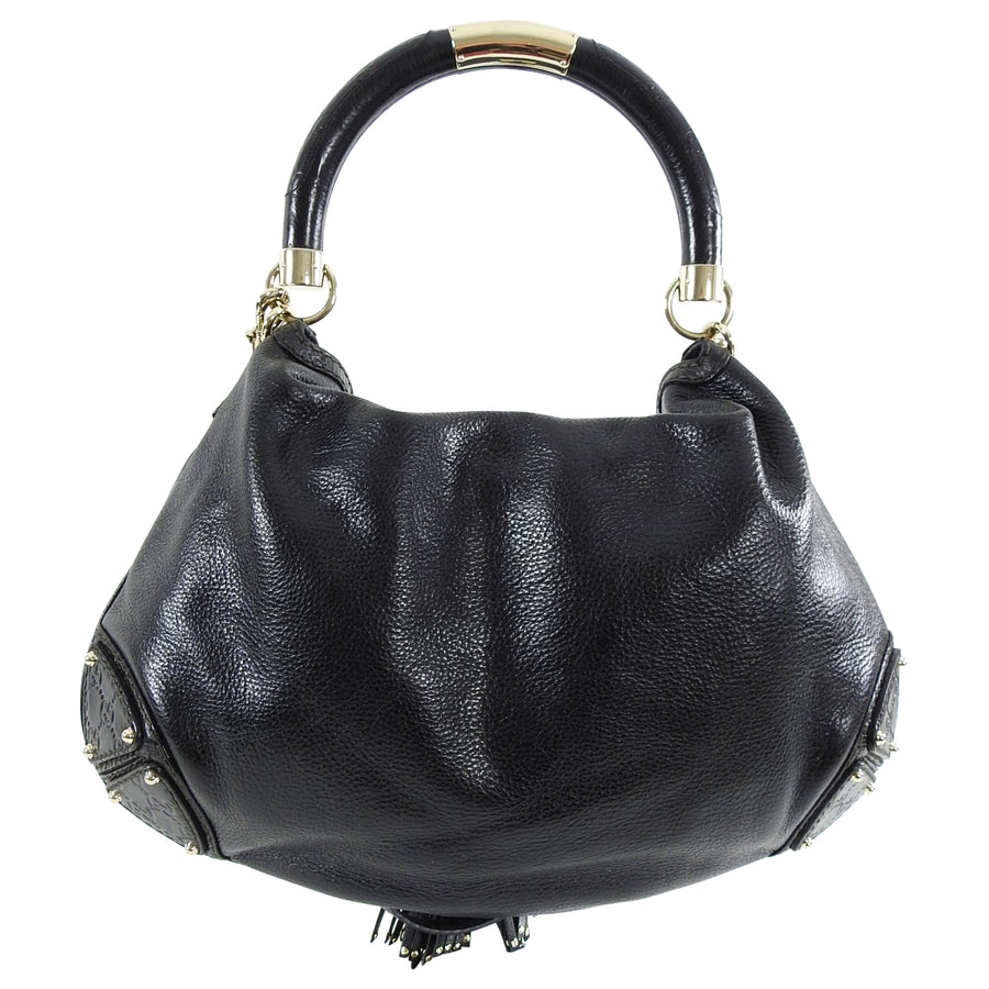 Gucci Indy Hobo Black Leather Large Tassel Bag