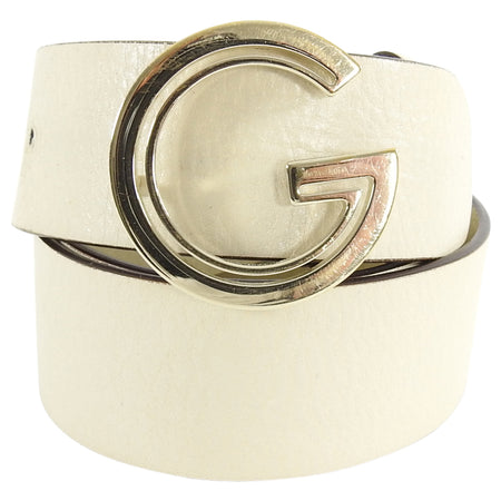 Gucci Vintage Ivory Leather and Gold G Logo Belt