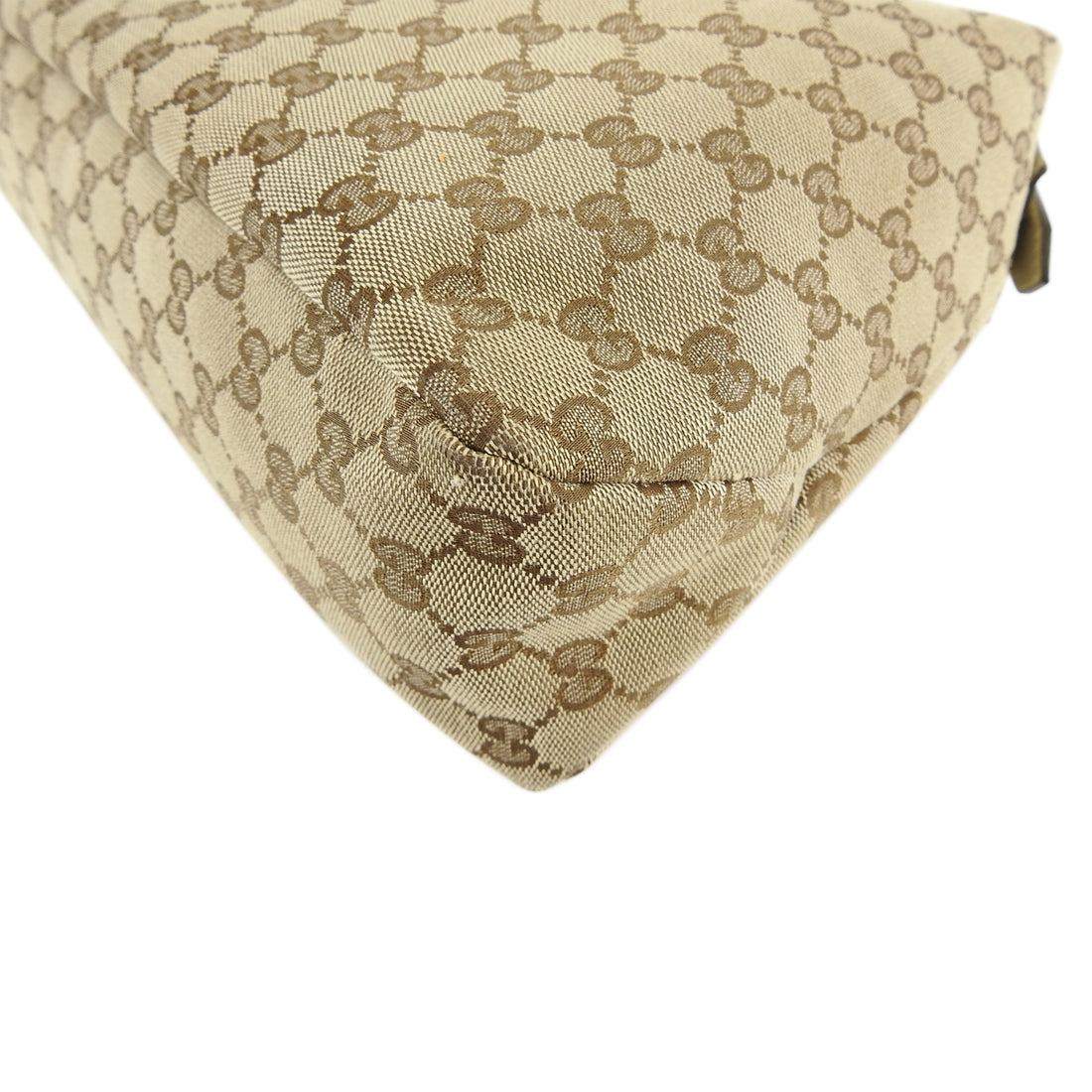 Gucci Ivory Monogram Canvas Horsebit Hobo Bag