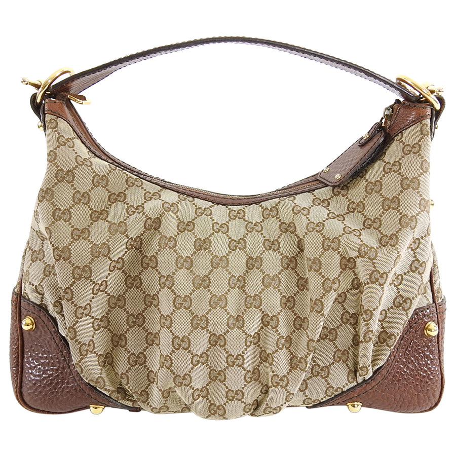 Gucci Brown Monogram Guccissima Jockey Hobo Medium Bag