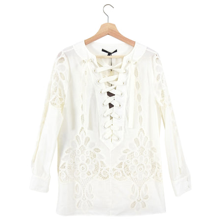 Gucci Resort Ivory Cotton Lace Up Broderie Anglaise Tunic Top - IT42 / US 6