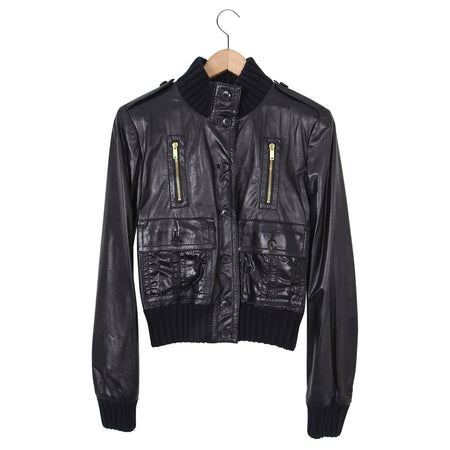Gucci Black Leather Madonna Crop Bomber Jacket – IT44 / S