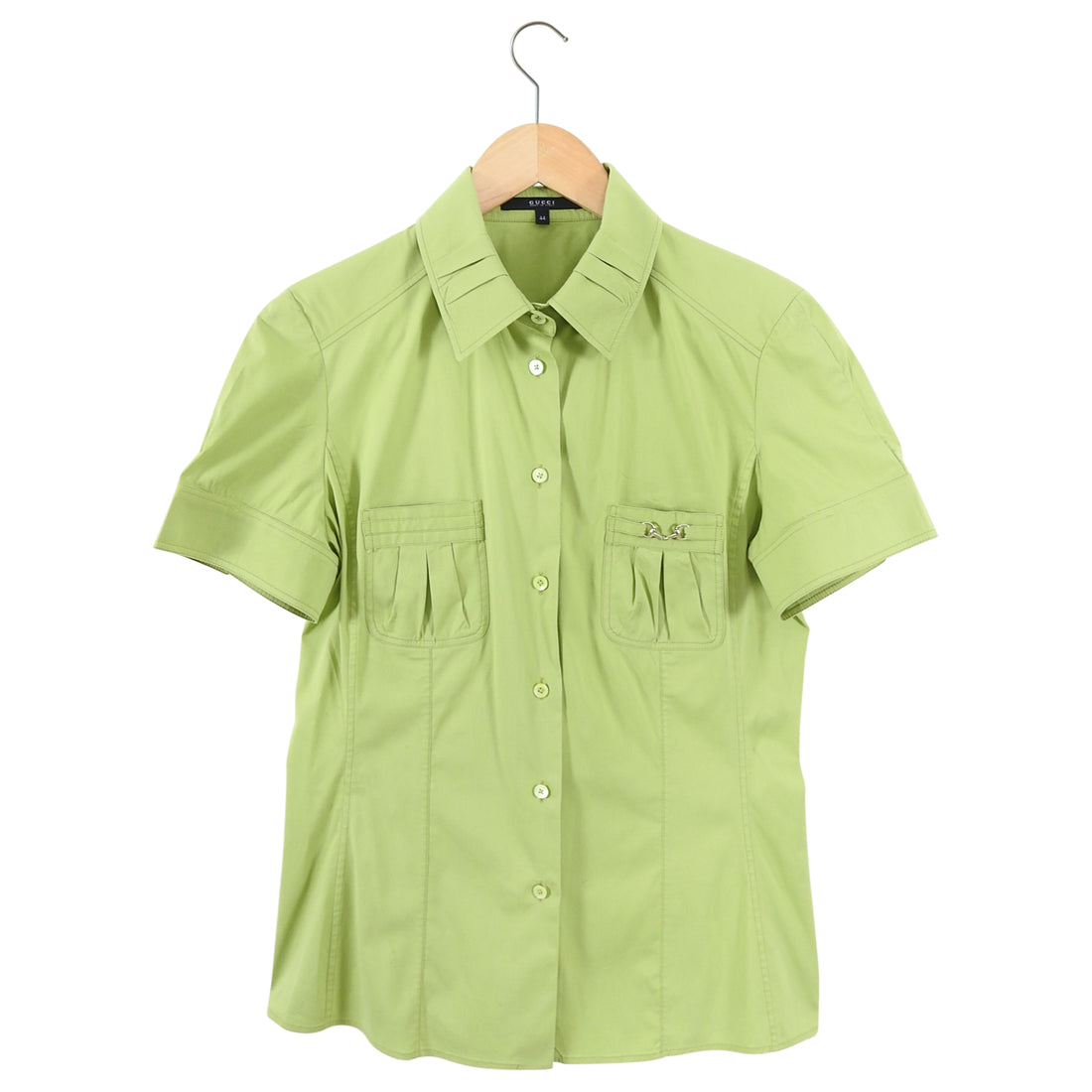 Gucci Lime Green Short Sleeve Horsebit Cotton Shirt - IT44 / 8