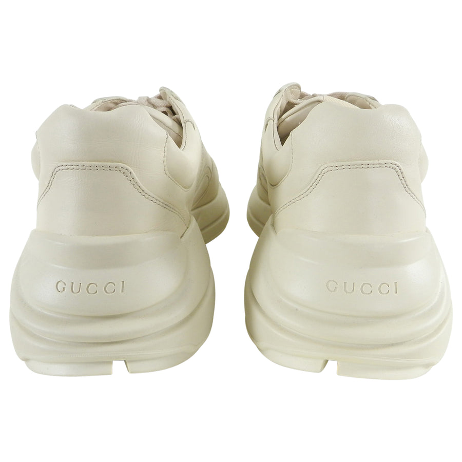 Gucci Cream Leather Logo Rhyton Sneakers - 10.5