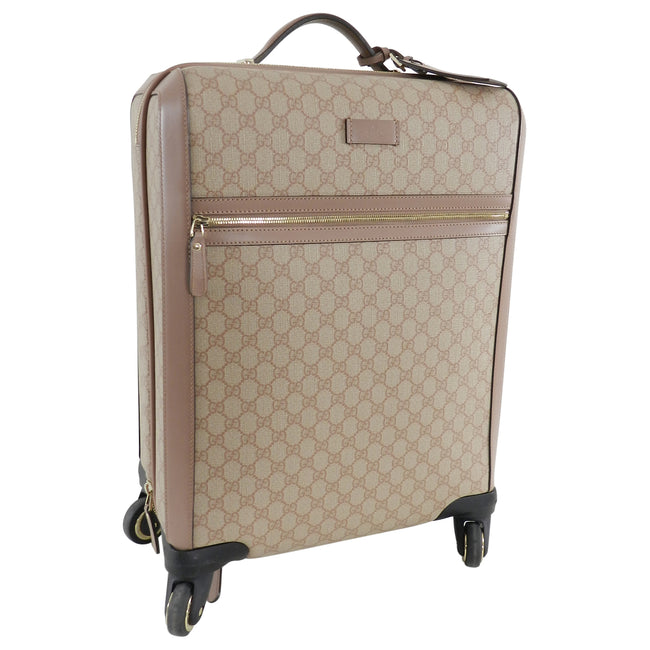 3ca06bde83df Gucci GG Supreme Monogram 4 Wheel Carry-on Luggage - Winter Rose