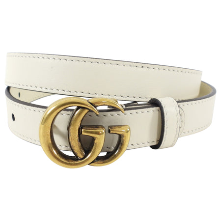 Gucci Ivory Skinny GG Marmont Belt - 70cm / 28""