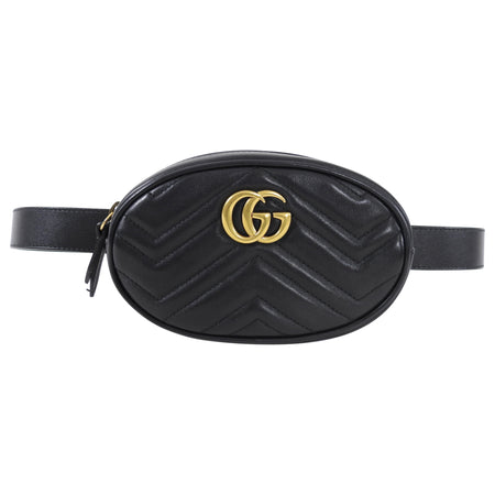 Gucci Black Matelasse Leather Marmont Belt Bag - 85 / 34
