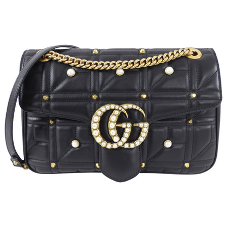 Gucci Marmont 2.0 Medium Flap Pearl Stud Flap Bag