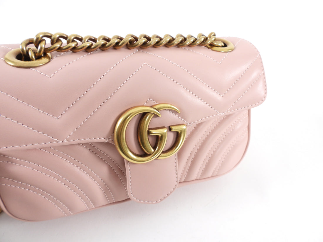Gucci Marmont Matelasse Light Pink Leather Mini Flap Bag