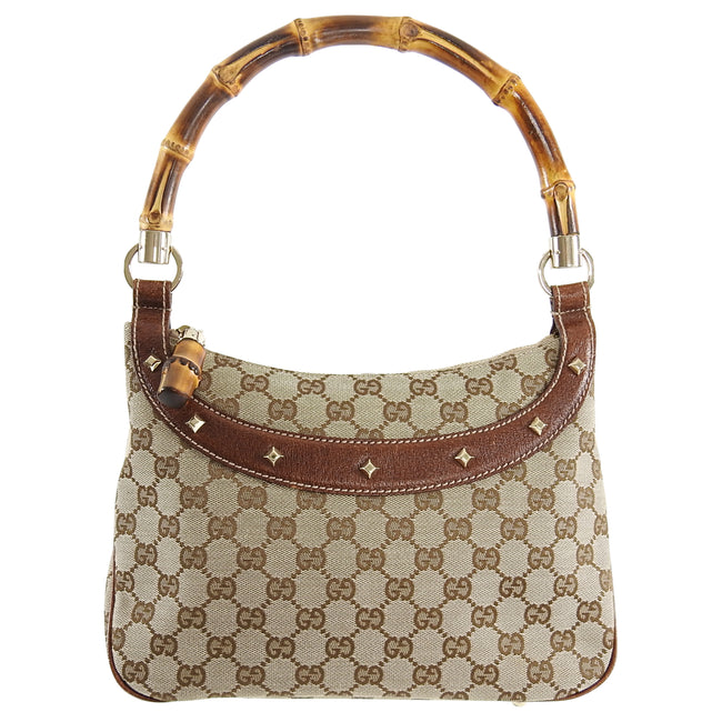 Gucci Brown Monogram Canvas Bamboo Handle Shoulder Bag