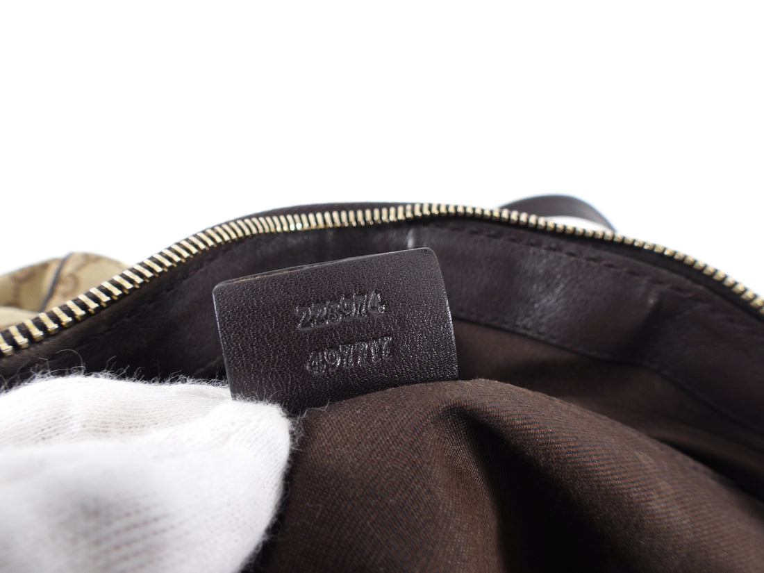 Gucci Medium Brown Monogram Canvas Sukey Boston Bag