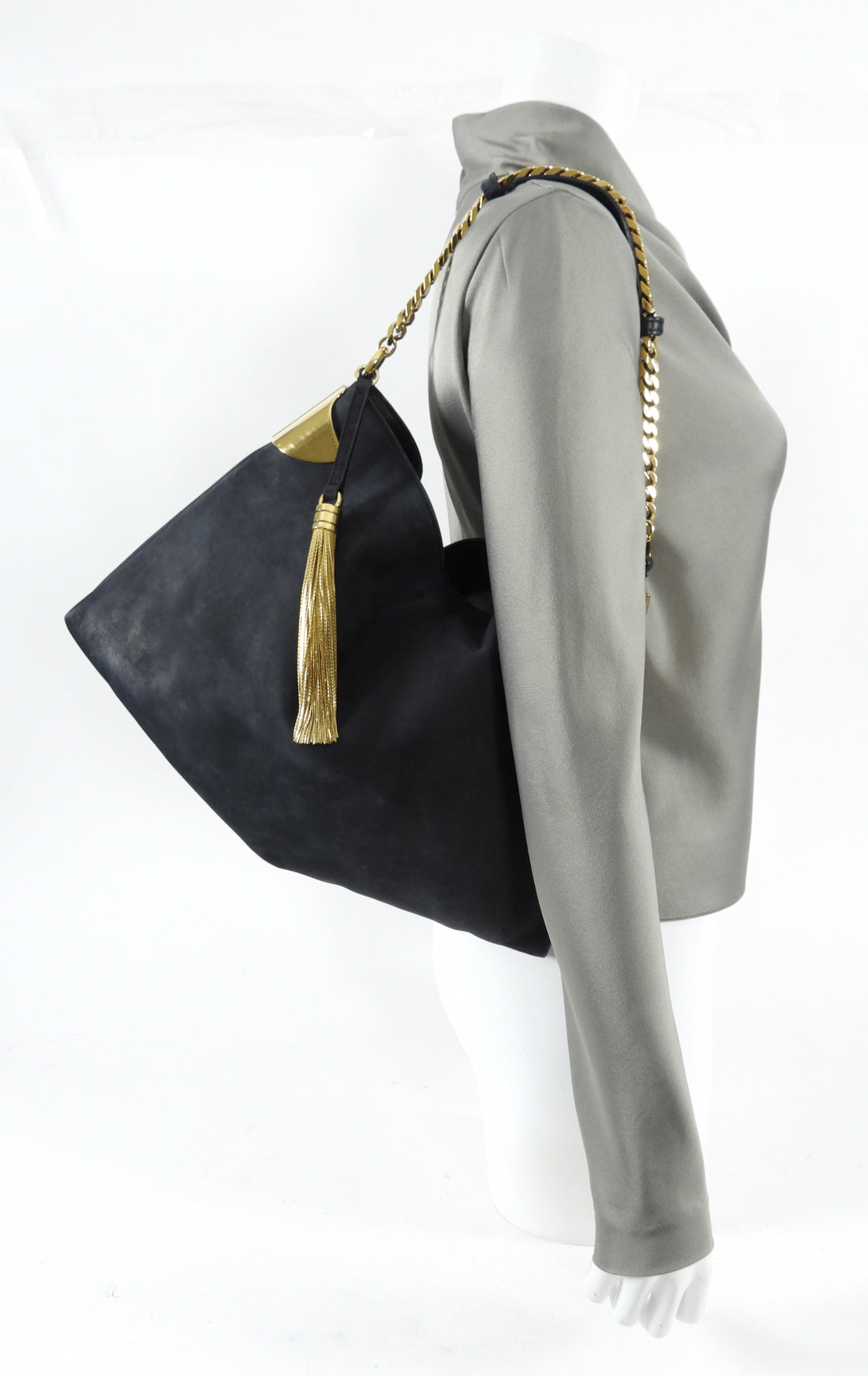 Gucci Black Nubuck Leather 1970 Medium Gold Chain Hobo Bag