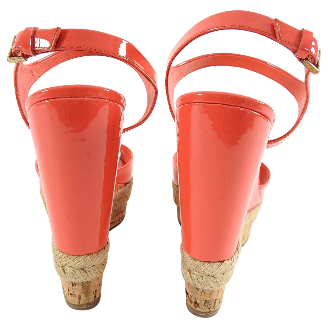 Gucci Coral Patent Cork Espadrille Wedge Heels