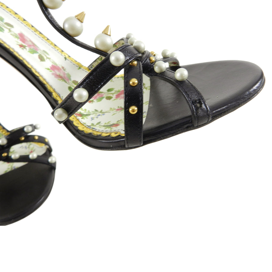 Gucci Regina Pearl Stud and Jewelled Bee High Heels - 40
