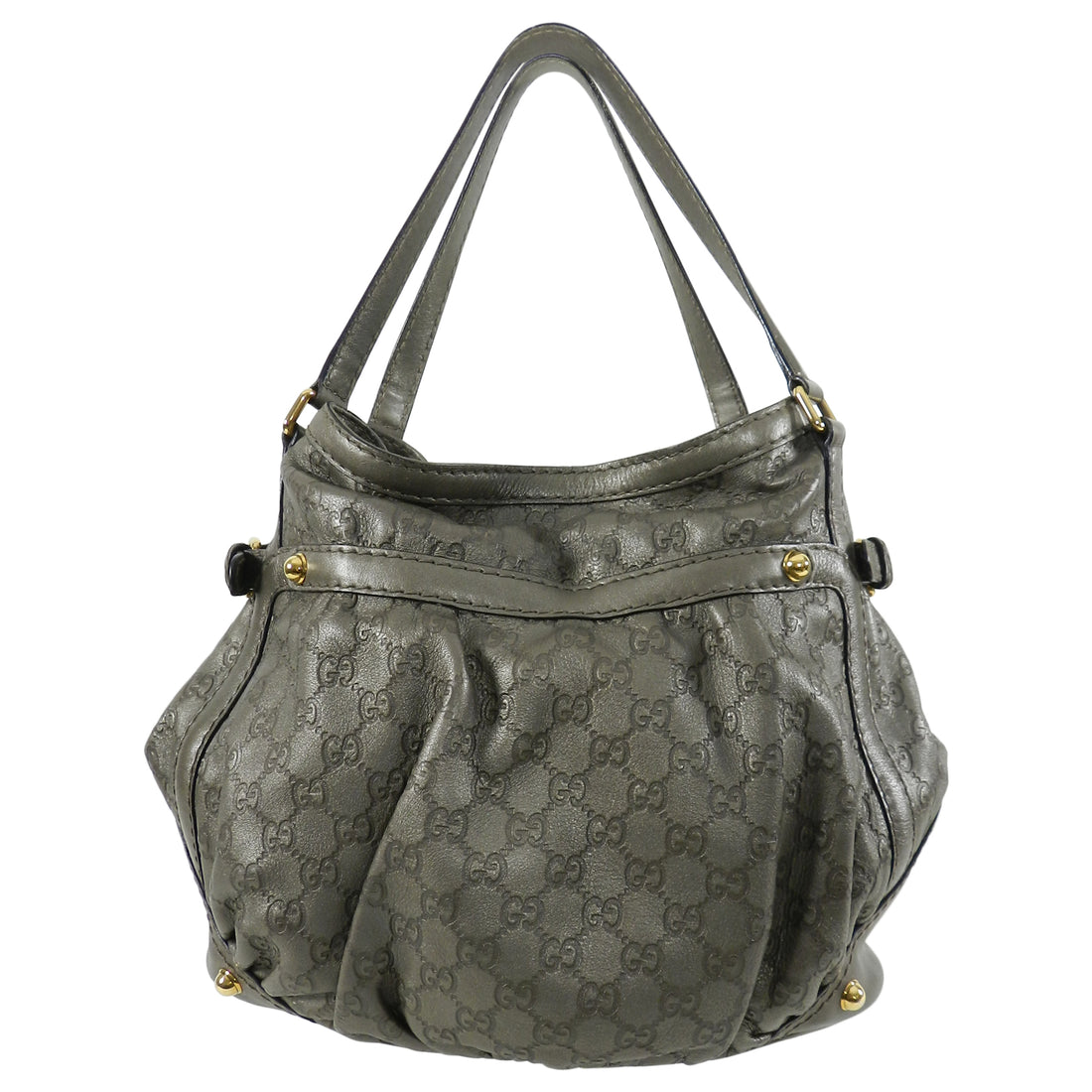 Gucci Guccissima Pewter Leather Monogram Hobo Bag with Gold Tone Hardware