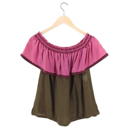 Gucci Pink and Brown Silk Off Shoulder Ruffle Top - IT42 / 6