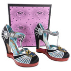 Gucci Black Satin and Silver T-Strap Pump Red Platform with Jewels - 40