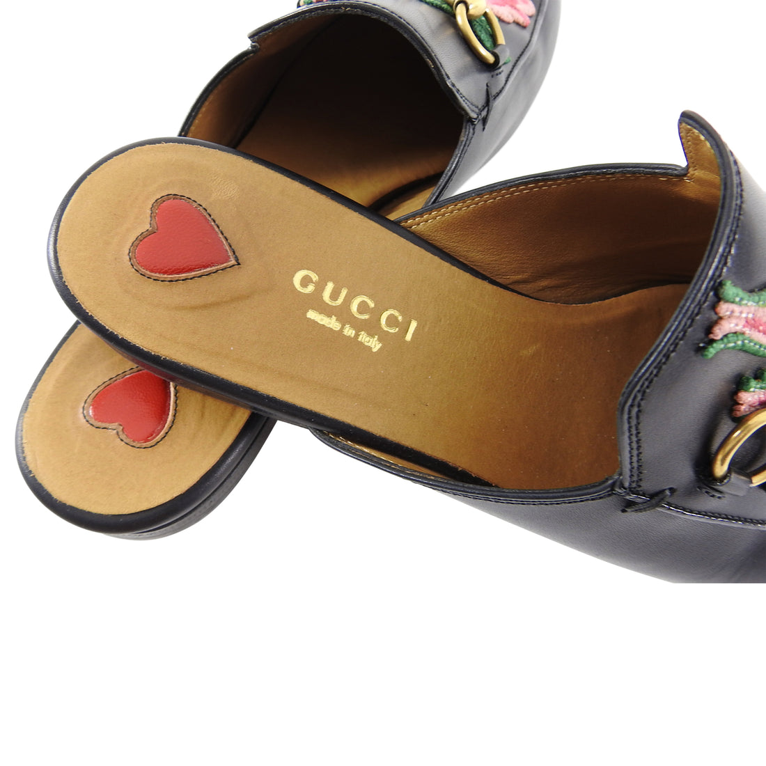 Gucci Princetown Slipper with Embroidered Rose - 6.5