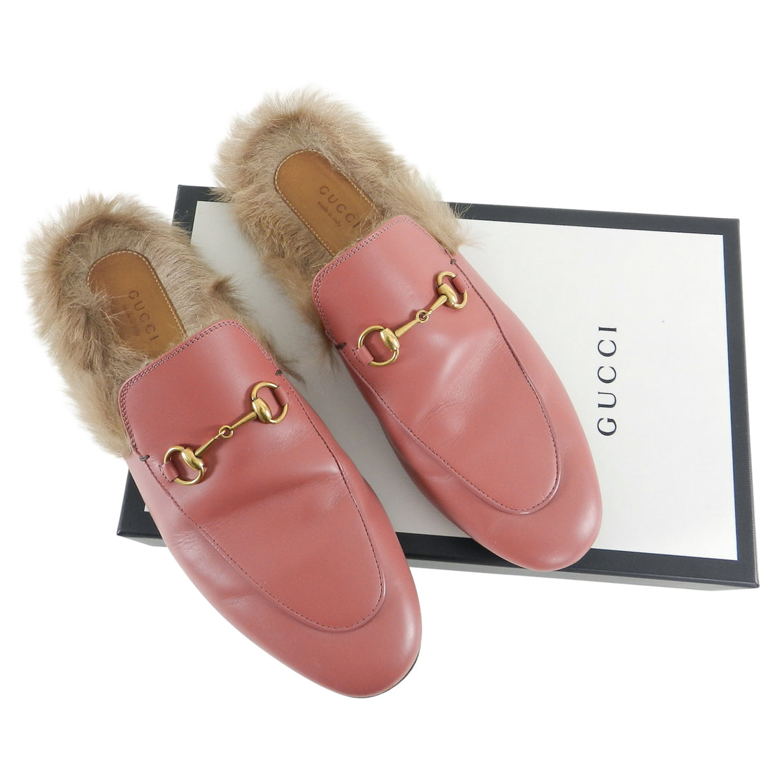 Gucci Pink Lipstick Rose Princetown Wool Lined Slippers - 41