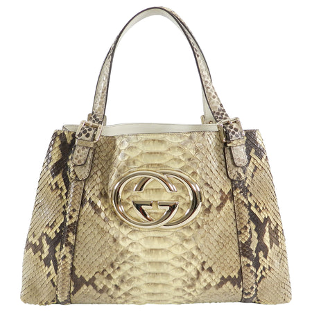 Gucci Natural Python Britt Medium GG Logo Tote Bag