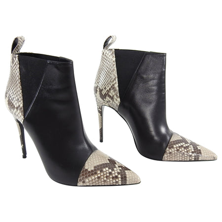 Gucci Python and Leather Pointy Toe Ankle Boots - 40