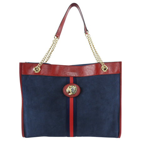 Gucci Rajah Blue Suede Web Large Tiger Head Tote Bag