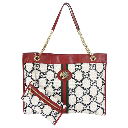 Gucci Rajah Tweed GG Supreme Large Red and White Tote Bag