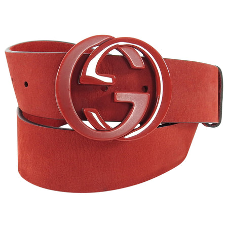 Gucci Red Suede Interlocking GG Logo Belt - 85 / 34