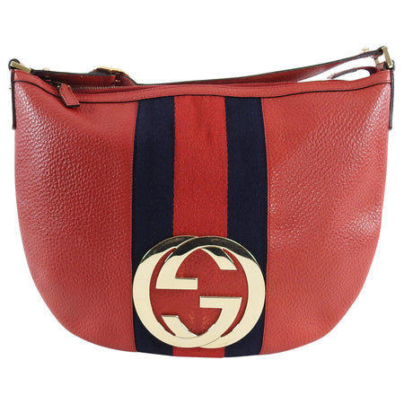 Gucci Red Leather Blondie GG Medallion Web Stripe Hobo Bag