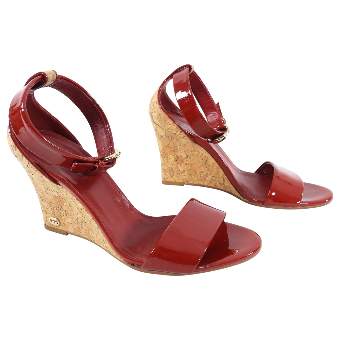 Gucci Red Patent Leather and Cork Wedge Sandals - 5.5
