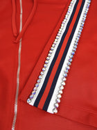 Gucci Red Hoodie with Stripe and Jewelled Rhinestone Accents - XS
