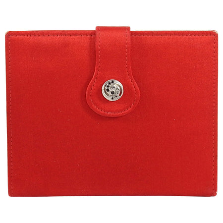 Gucci Vintage 1970's Red Silk Satin Small Compact Wallet