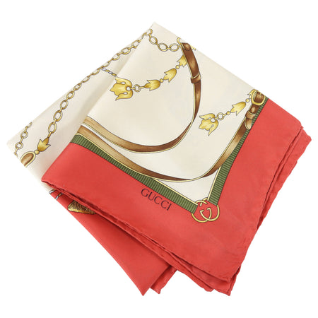 Gucci Vintage 1980's Red and Ivory Silk Scarf